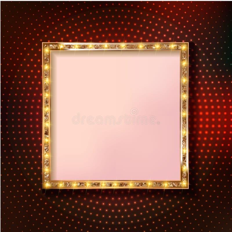 Retro marquee stylish frames with light bulbs. Colorful retro marquee stylish square rames with light bulbs. Vector empty frames, landmarks, cloud symbol royalty free illustration