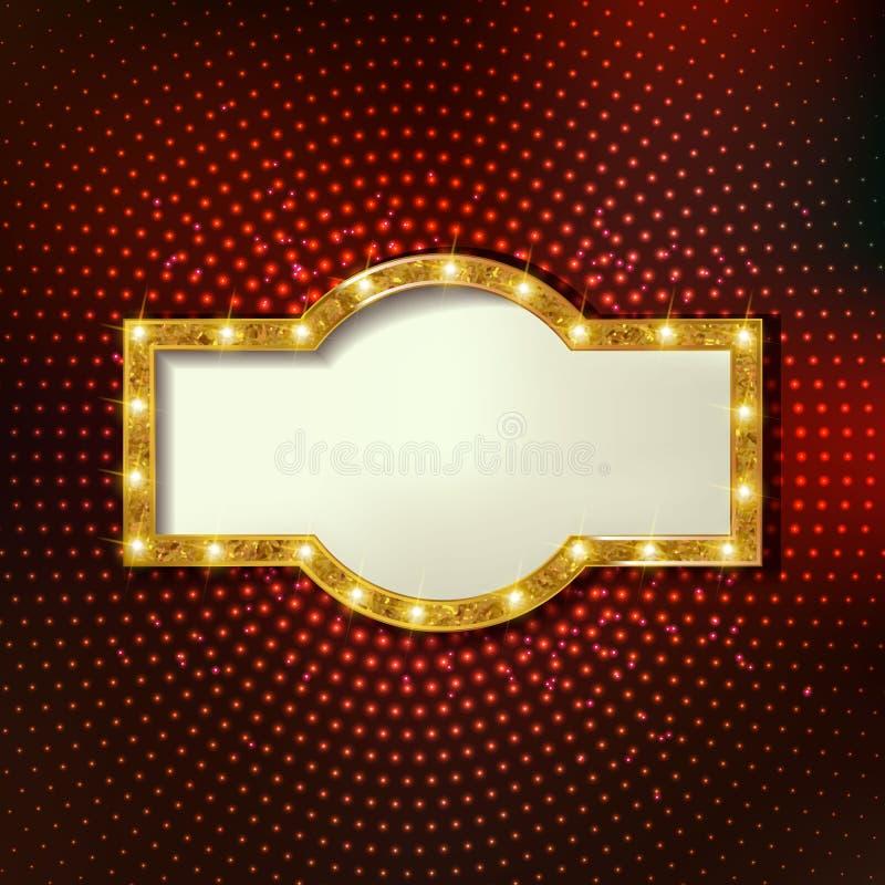 Retro marquee stylish frames with light bulbs. Colorful retro marquee stylish frames with light bulbs. Vector empty frames, landmarks, cloud symbol, ribbon stock illustration