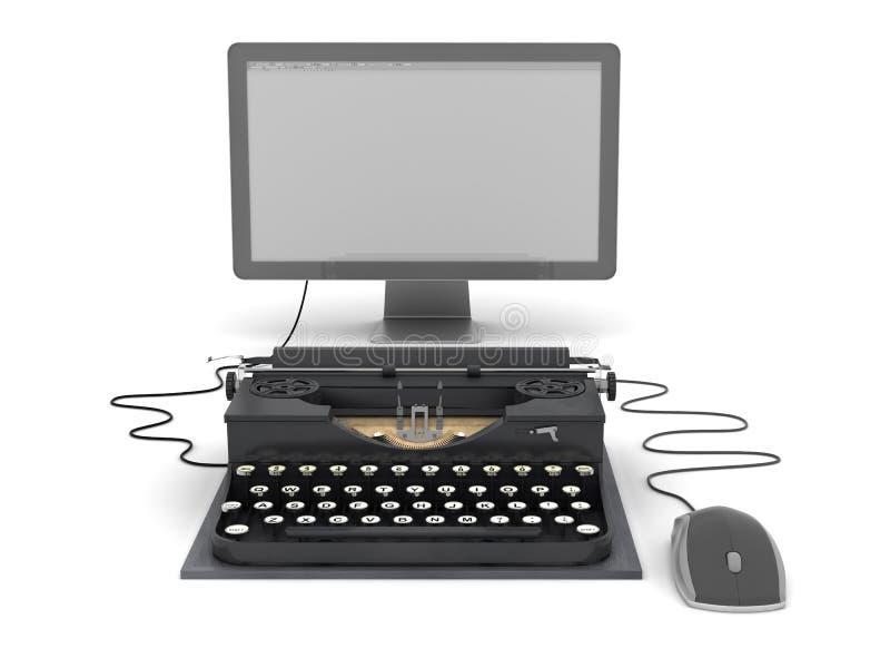 Retro maszyna do pisania komputerowy monitor i mysz, ilustracja wektor