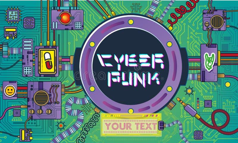 retro meccanismi dei robot di Cyberpunk di scienza e dettagli delle macchine del Pop art del veicolo spaziale retro illustrazione di stock