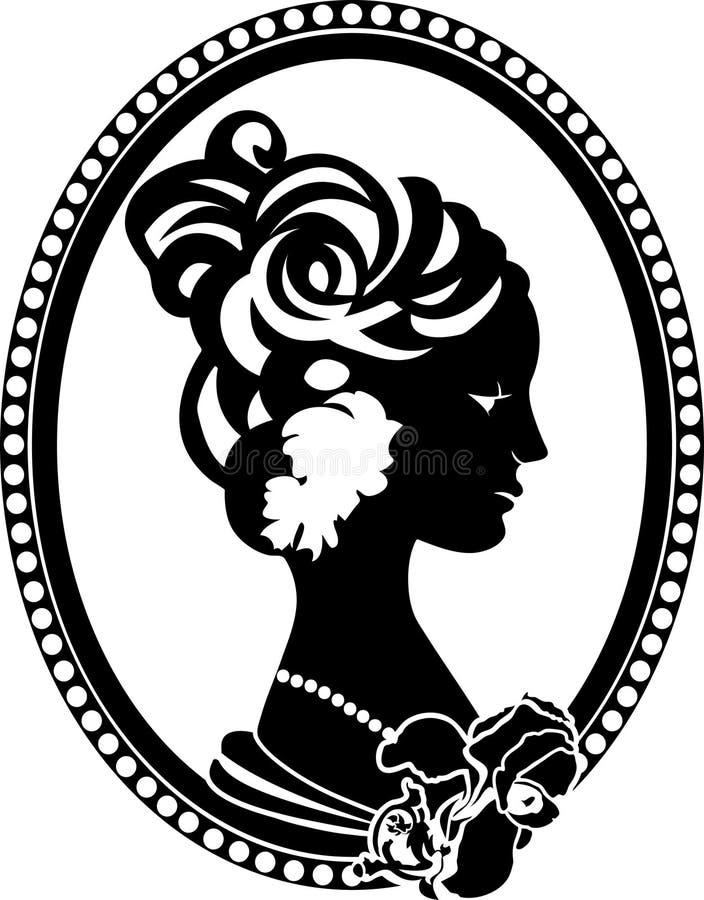 Retro medaillon met vrouwelijk profiel stock illustratie