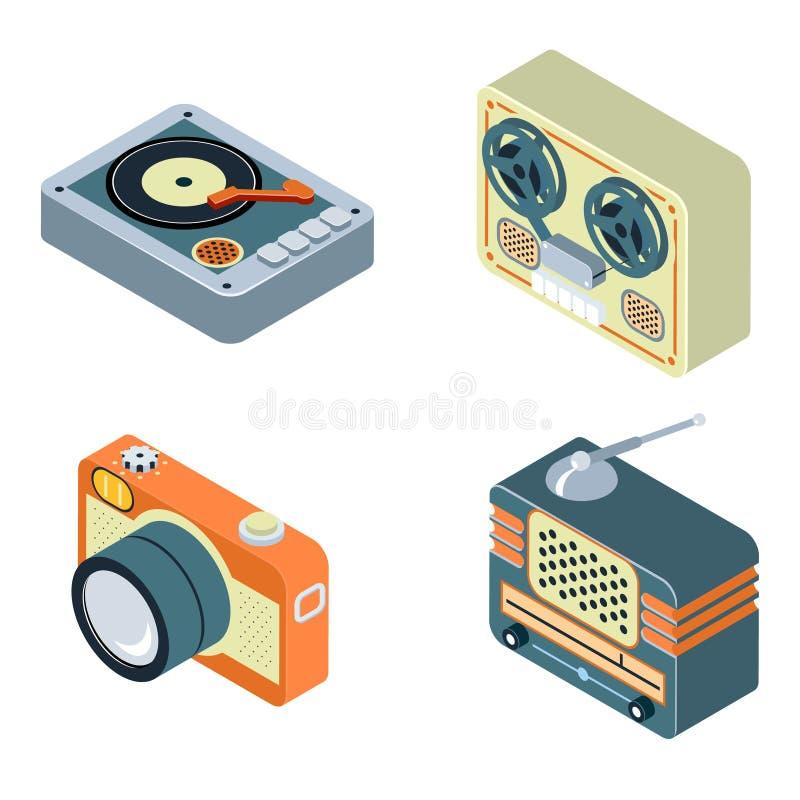 retro medel Radio rullbandspelare, skivtallrik royaltyfri illustrationer