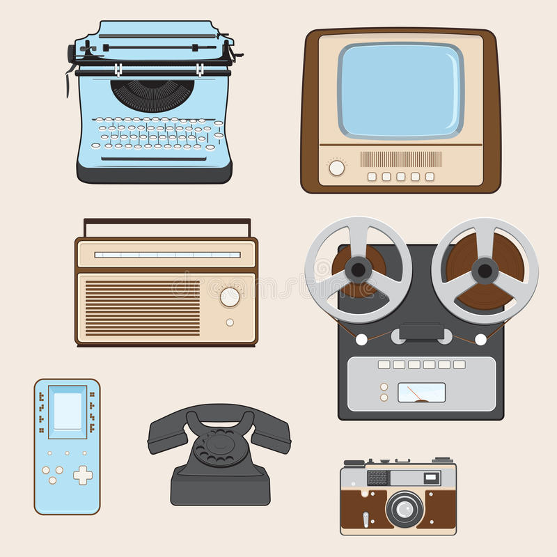 Retro Media Gadgets royalty-vrije illustratie