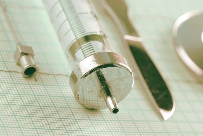 Retro medische hulpmiddelen op de ECG-grafiek royalty-vrije stock afbeeldingen