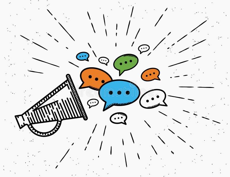 Retro megafoon met het concept van toespraakbellen vector illustratie
