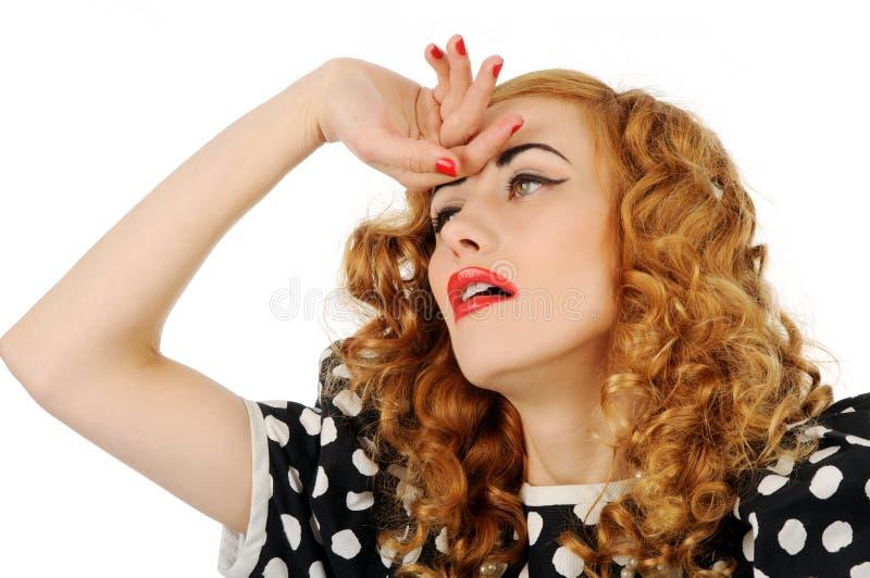 Retro meisje met hoofdpijn stock fotografie
