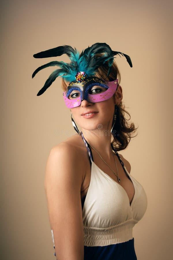 Retro meisje met masker stock foto