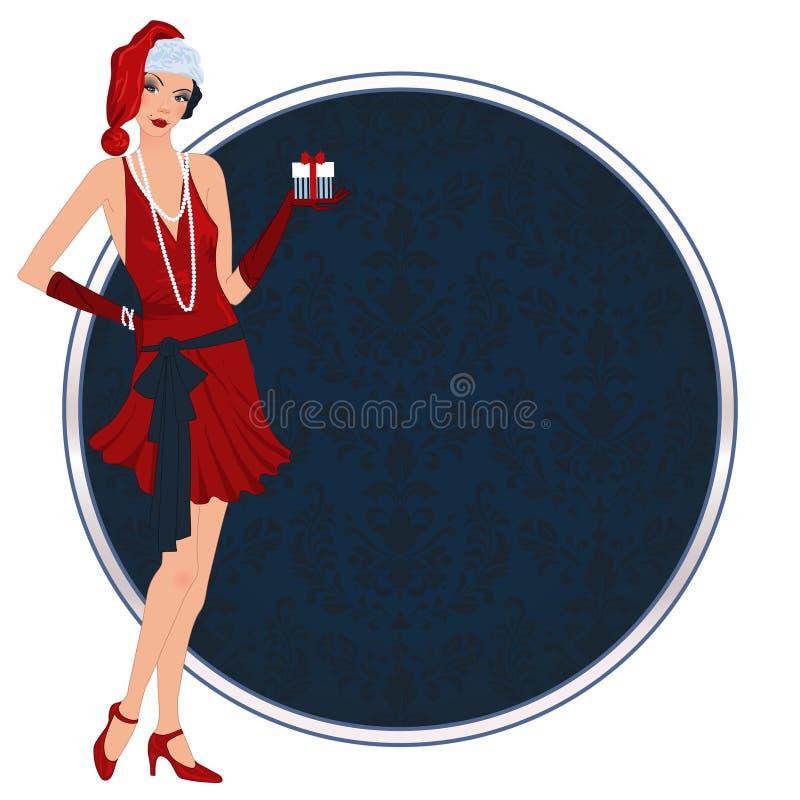 Retro meisje van flappperkerstmis royalty-vrije illustratie