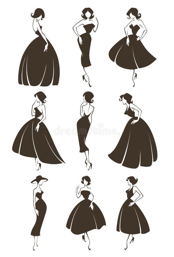 Retro meisjes stock illustratie