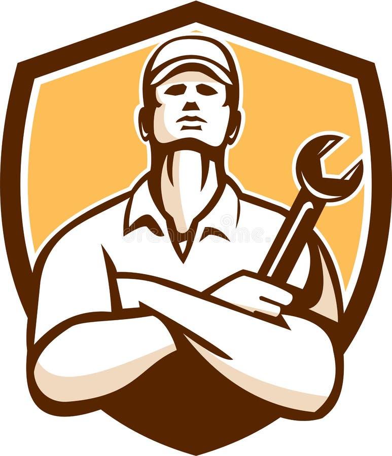 Retro mekanikerArms Crossed Wrench sköld royaltyfri illustrationer