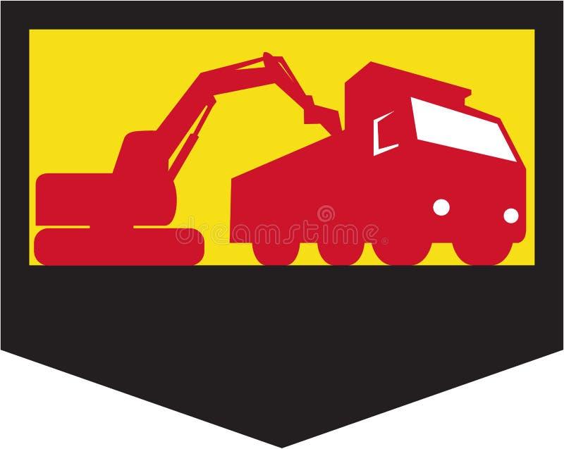 Retro mekaniska Digger Loading Dump Truck Shield royaltyfri illustrationer