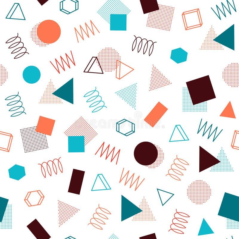 Retro memphis geometrisk linje sömlösa modeller för former Hipstermode 80-90s Abstrakta röratexturer Sicksacklinjer stock illustrationer