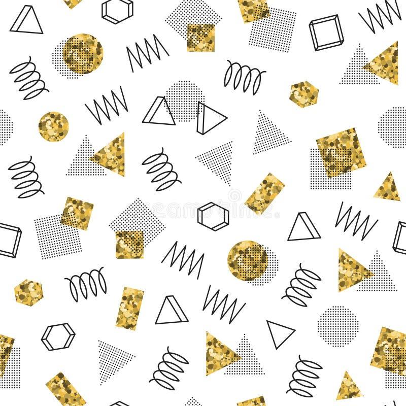 Retro Memphis kreskowych kształtów geometryczni bezszwowi wzory royalty ilustracja