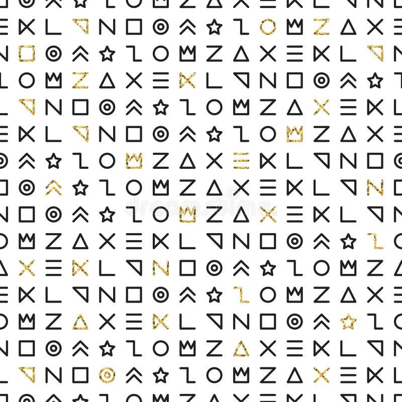 Retro Memphis kreskowych kształtów geometryczni bezszwowi wzory ilustracja wektor