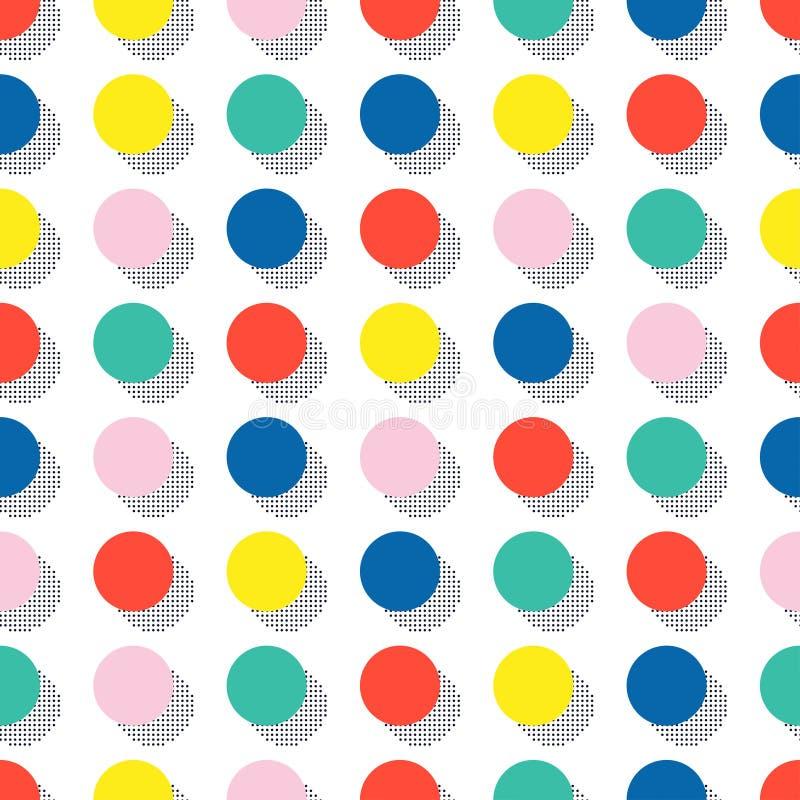 Retro Memphis kreskowych kształtów geometryczni bezszwowi wzory Modniś moda 80-90s Abstrakcjonistyczne bigos tekstury Okrąg, roun ilustracja wektor
