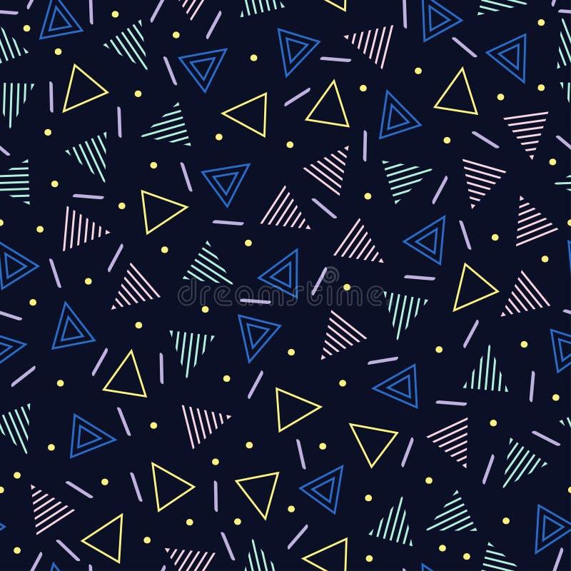 Retro Memphis kreskowych kształtów geometryczni bezszwowi wzory Modniś moda 80-90s Abstrakcjonistyczne bigos tekstury Zygzag lini ilustracja wektor