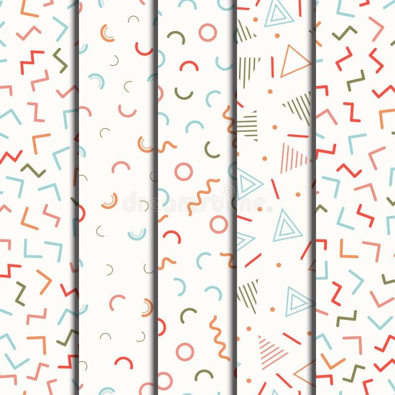 Retro Memphis kreskowych kształtów geometryczni bezszwowi wzory ustawiający Modniś moda 80-90s Abstrakcjonistyczne bigos tekstury ilustracji