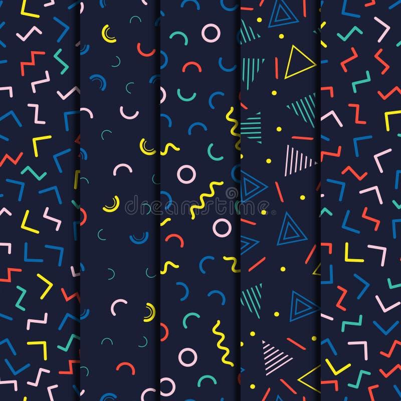 Retro Memphis kreskowych kształtów geometryczni bezszwowi wzory ustawiający Modniś moda 80-90s Abstrakcjonistyczne bigos tekstury royalty ilustracja