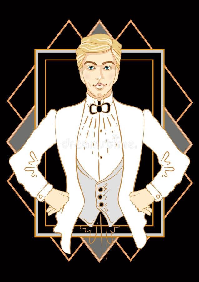Retro men`s set: retro party invitation design black and white. young beautiful men of 1920s. Retro men`s set: retro party invitation design black and white royalty free illustration