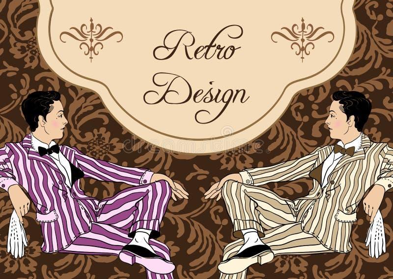 Retro men`s set: young beautiful man of twenties. Vintage style vector illustration.  vector illustration