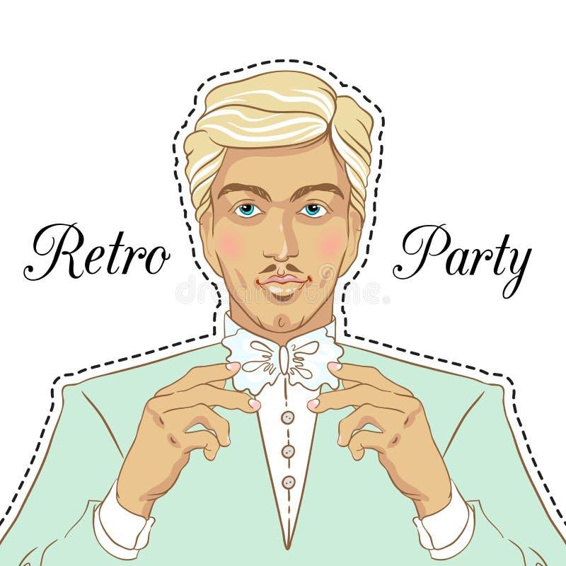 Retro men`s set: young beautiful men of 1920s. Vintage style vector illustration isolated. Retro party invitation design. Retro men`s set: young beautiful men royalty free illustration