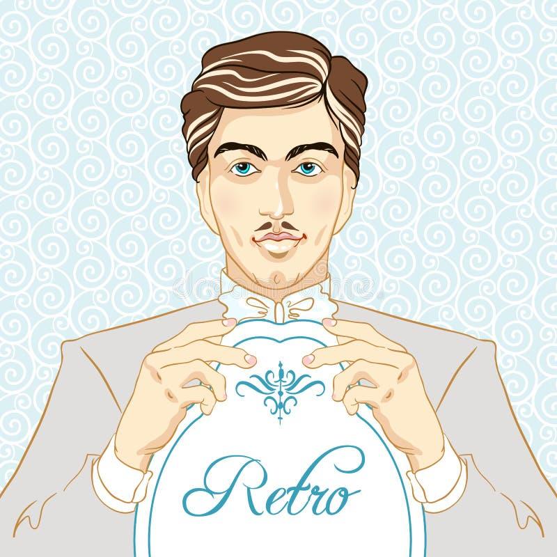 Retro men`s set: young beautiful men of 1920s. Vintage style vector illustration.  royalty free illustration