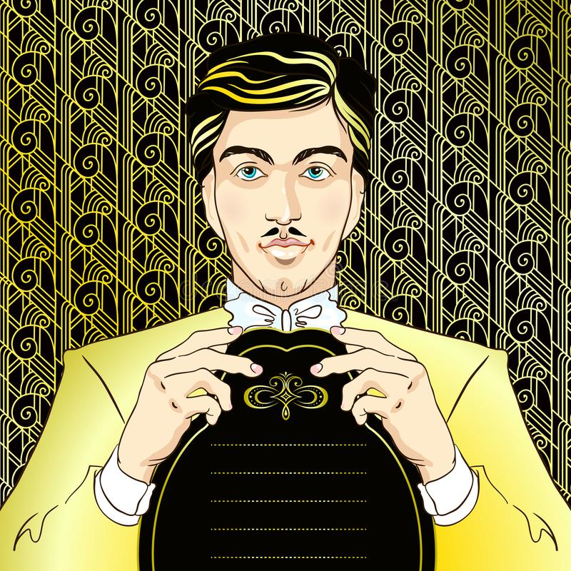 Retro men`s set: young beautiful men of 1920s. Vintage style vector illustration in gold.  royalty free illustration