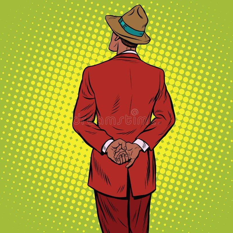 Retro mens is achter royalty-vrije illustratie