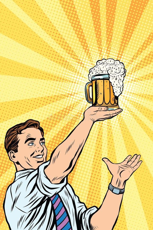 Retro mens en mok bier stock illustratie