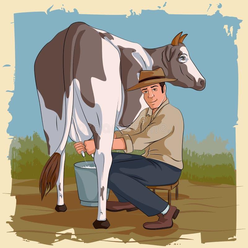 Retro mens het melken koe royalty-vrije illustratie
