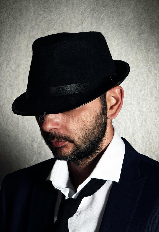 Retro mens met hoed royalty-vrije stock foto