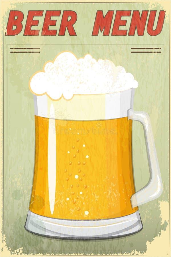 Retro Menu van het Bier van het Ontwerp vector illustratie