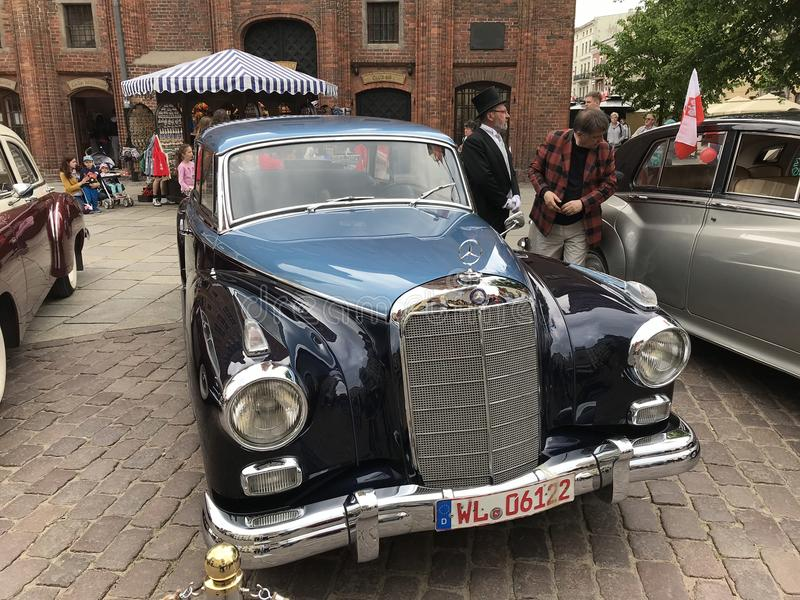 Retro Mercedes at classic cars show in Torun royalty free stock images