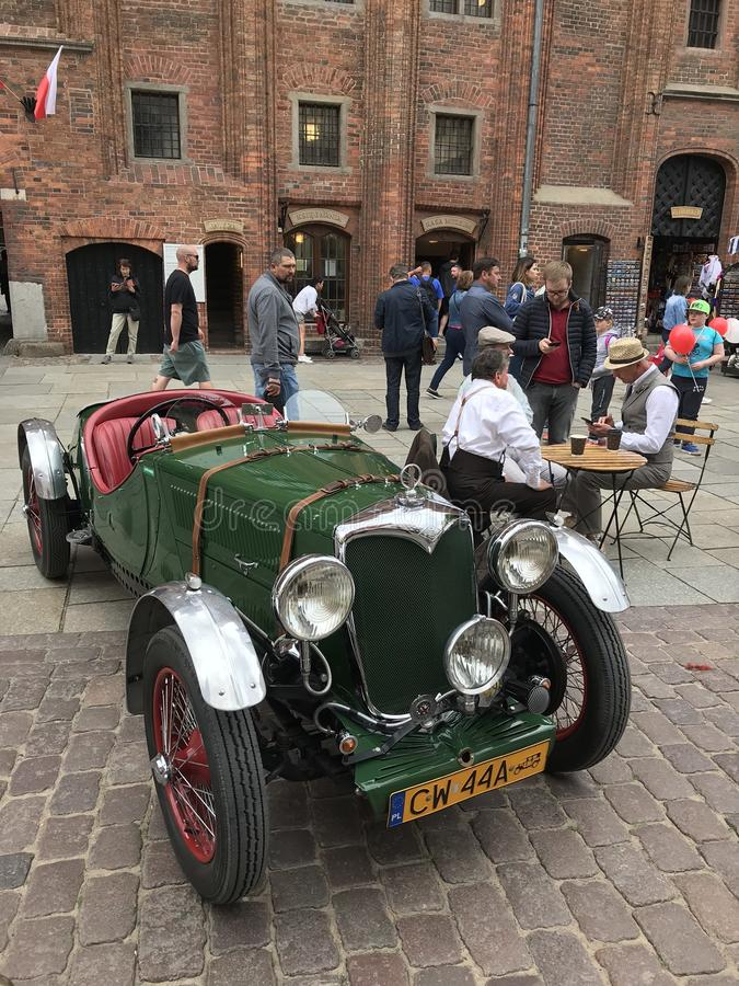 Retro Mercedes at classic cars show in Torun royalty free stock photos