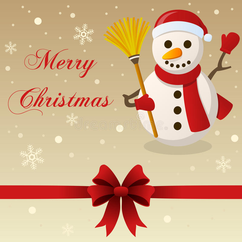 Retro Merry Christmas Card Snowman Stock Vector - Illustration of ...