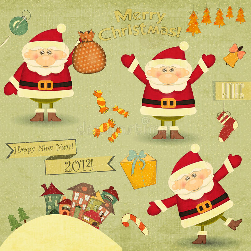 Retro Merry Christmas and New Years Card vector illustration