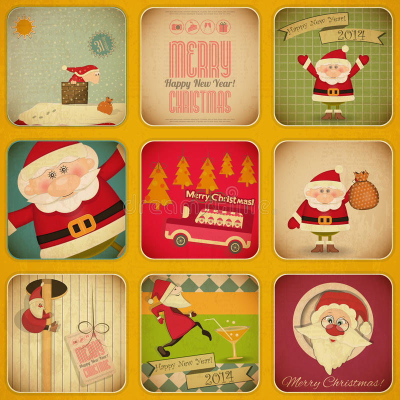Retro Merry Christmas and New Years Card. Santa Se stock illustration