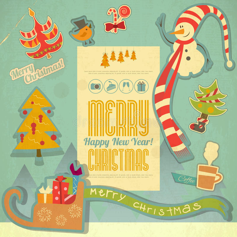 Retro Merry Christmas and New Years Card stock illustration