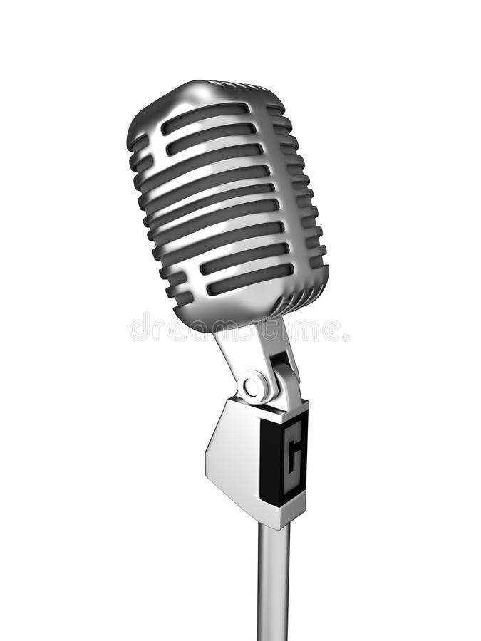 Retro Metal Microphone Over White Stock Photography