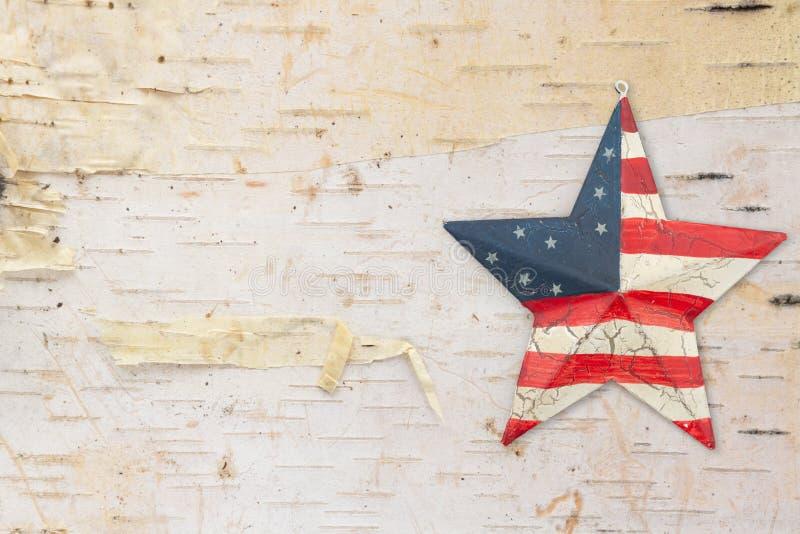 Retro metal old USA flag stars and stripes star stock image