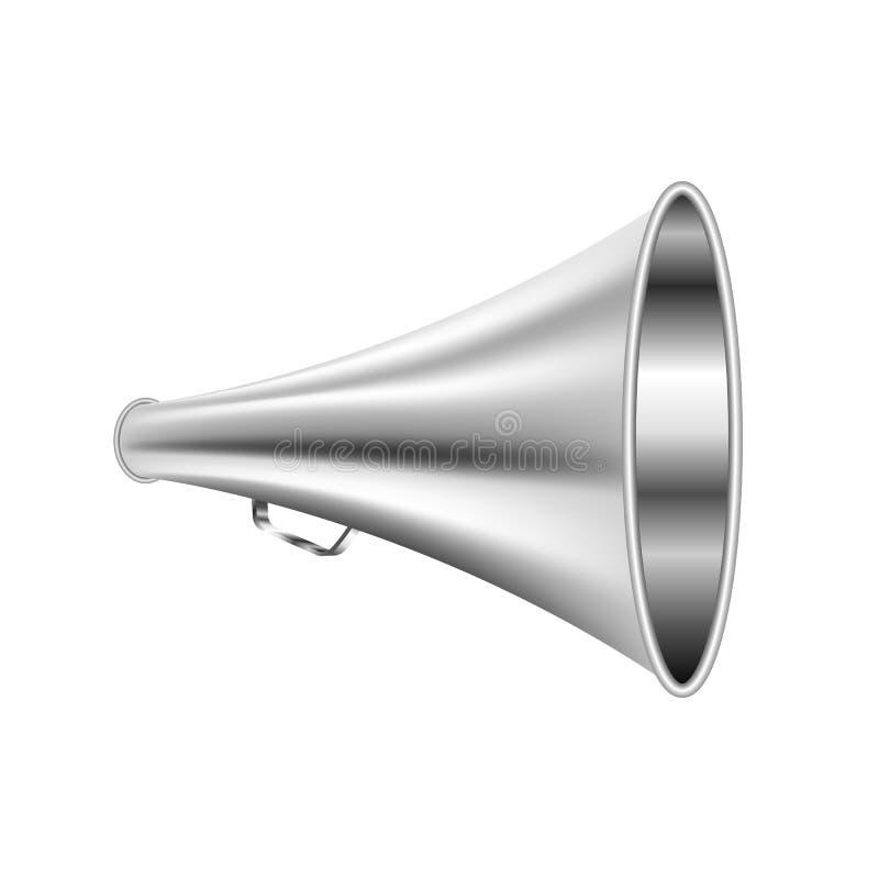 Retro- Metall des Lautsprechers für den Sprachsprechermann lokalisiert auf weißem Hintergrund lizenzfreie abbildung