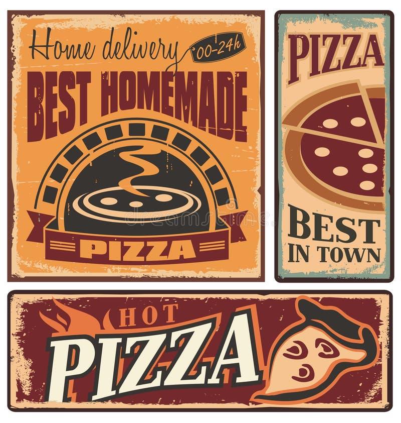 Retro metallteckenuppsättning för pizzeria royaltyfri illustrationer