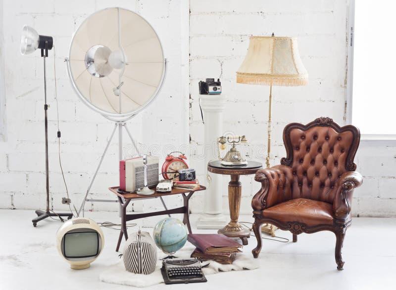 Retro meubilair en decoratie royalty-vrije stock fotografie