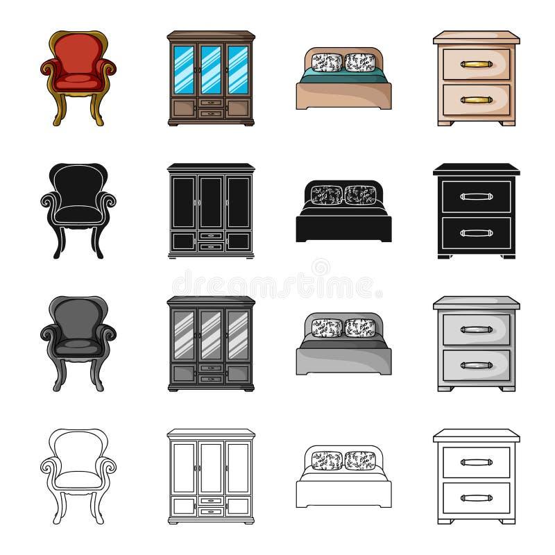 Retro meubilair, leunstoel, garderobe met glazen, bed, ladenkast Meubilair en binnenlandse vastgestelde inzamelingspictogrammen b vector illustratie