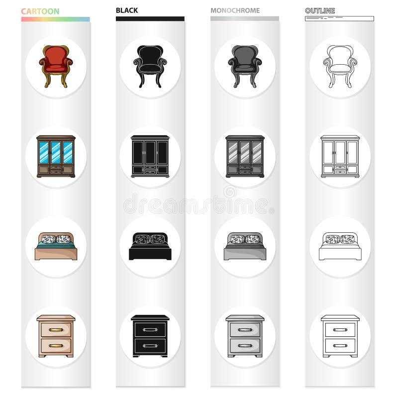 Retro meubilair, leunstoel, garderobe met glazen, bed, ladenkast Meubilair en binnenlandse vastgestelde inzamelingspictogrammen b stock illustratie