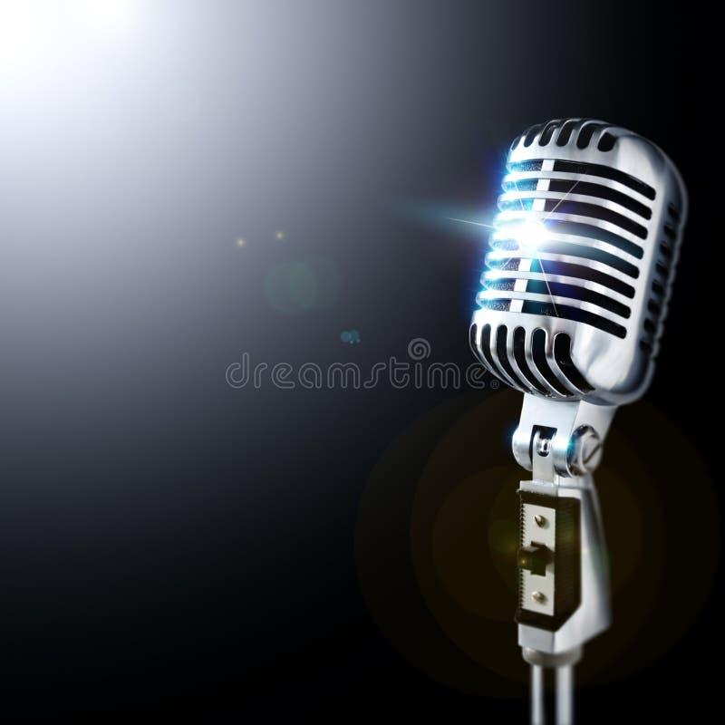 Retro Mic In Spotlight royalty free stock image