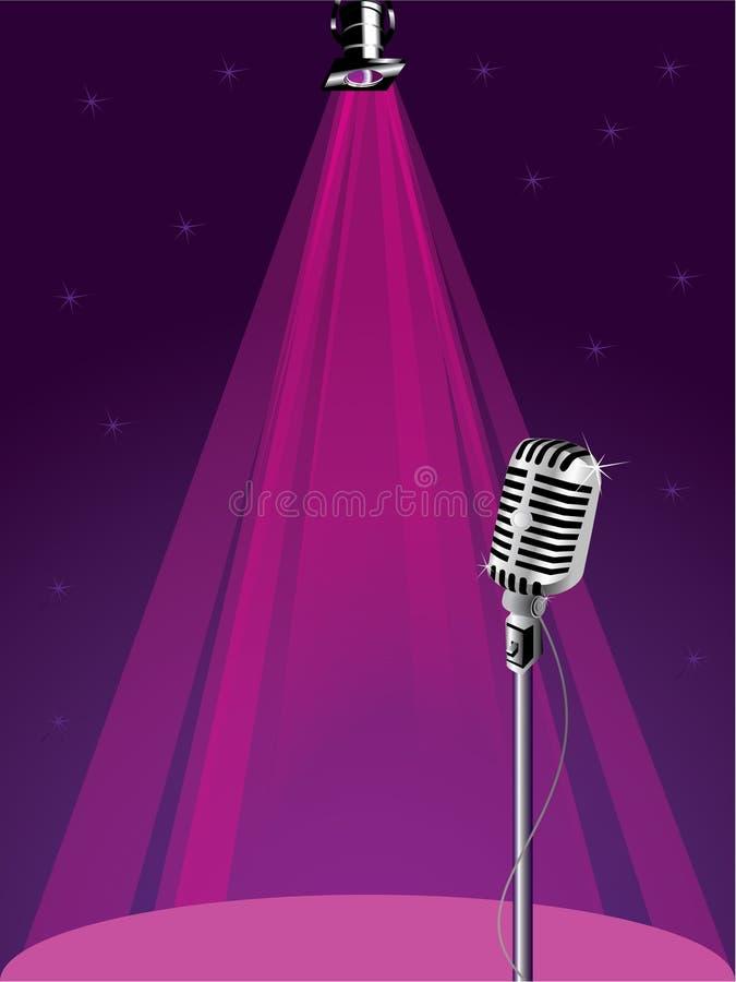 Retro microfono e riflettore illustrazione di stock