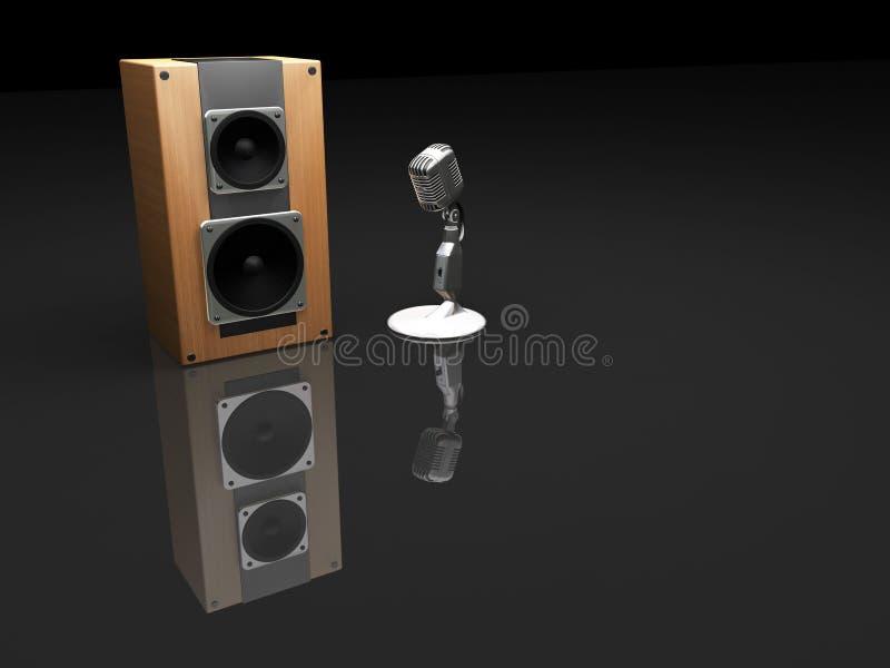 Retro microfono ed altoparlante illustrazione vettoriale