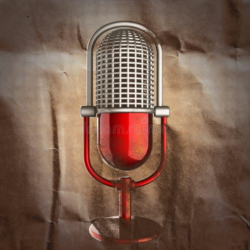 Retro microfoon die op papier wordt geschilderd stock illustratie