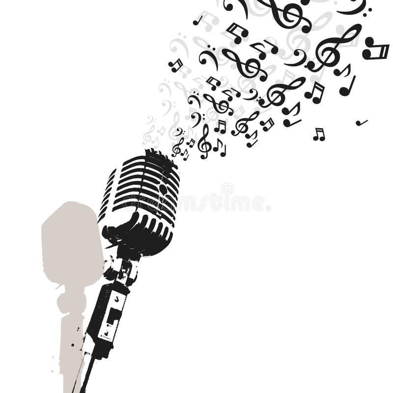 Retro microfoonmuziek stock illustratie